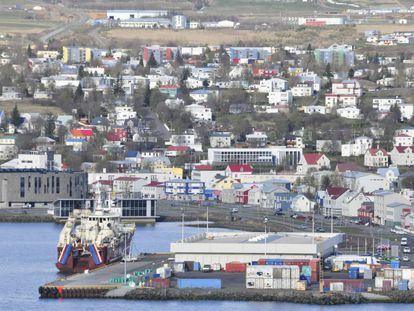 Port city of Akureyr in Iceland.