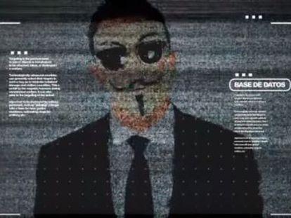 Screen capture of video published by Anonymous.