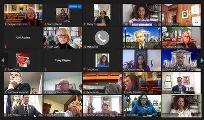 Screenshot of a Zoom meeting between lawmakers in Virginia.