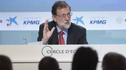 Spanish PM Mariano Rajoy speaking at the Economic Circle summit in Sitges.