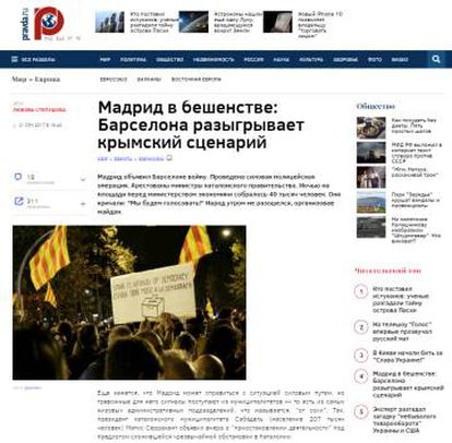 "A Pravda headline reading: ""Anger in Madrid: Barcelona recreates the scenario in Crimea."""