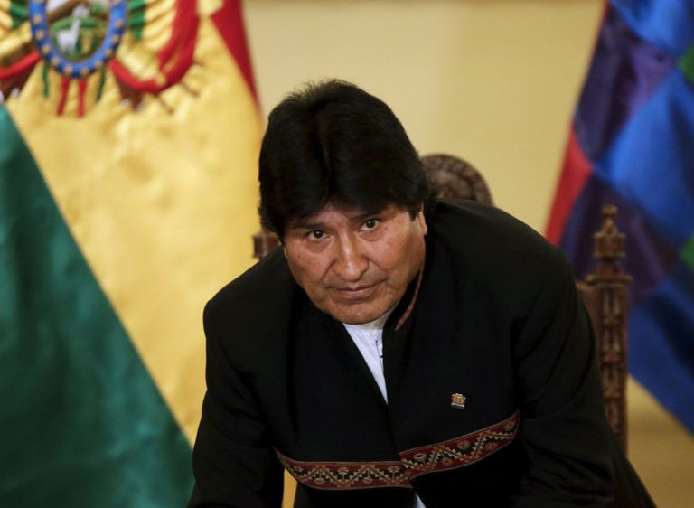 President Evo Morales during a news conference in La Paz.