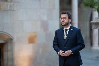 New Catalan premier Pere Aragonès during the ceremony on Monday that saw him take the oath of office.