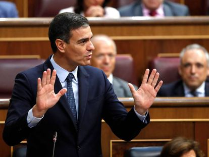 Pedro Sánchez during the investiture debate on Monday.