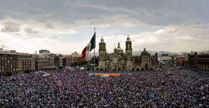 A march at Mexico City's central Zócalo square.