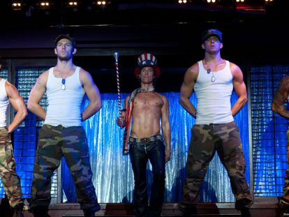 Alex Pettyfer (second left), Matthew McConaughey (center) and Channing Tatum (second right) in 'Magic Mike.'