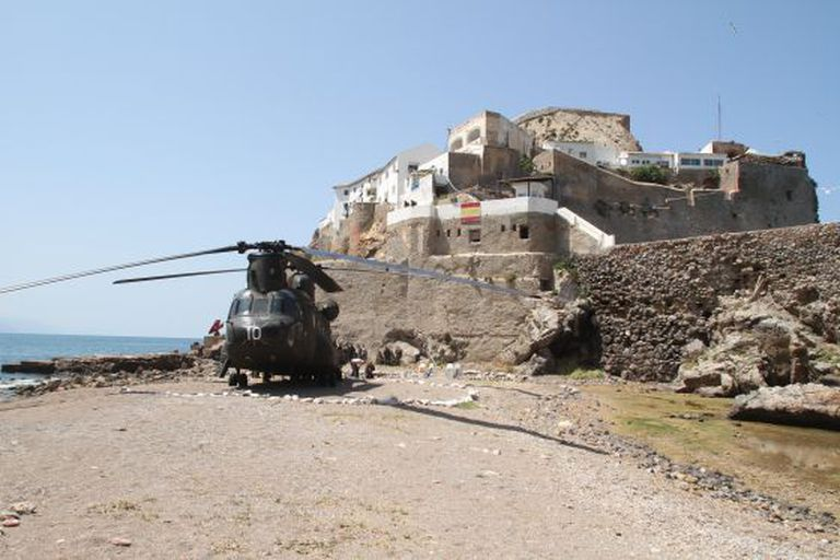 An army helicopter on the Peñon de Vélez de la Gomera