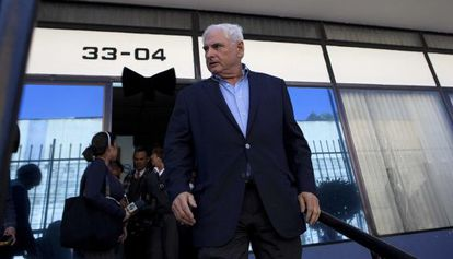 Former Panamanian President Ricardo Martinelli arrives at the Central American Parliament in Guatemala.