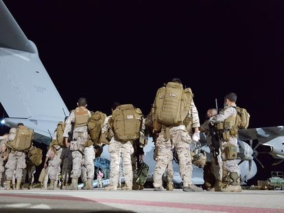 Spanish soldiers leave in the first of two A400M aircraft to assist with the evacuation effort.