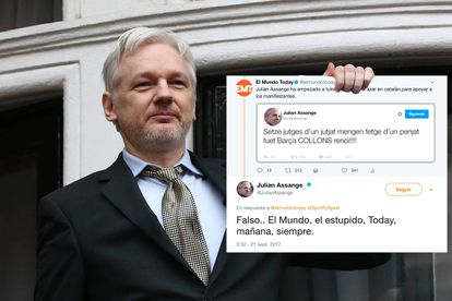 An in-house photomontage of Assange with the fake tweet, using an original photo from Getty.