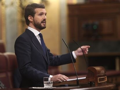 Popular Party leader Pablo Casado in Congress on Thursday.