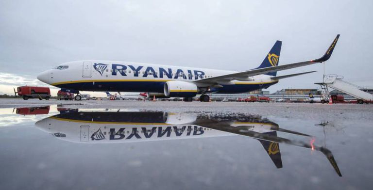 A Ryanair plane at Hamburg airport