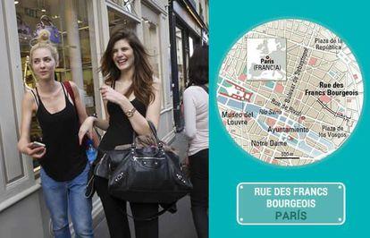 Pedestrians on Rue des Francs-Bourgeois in Paris.