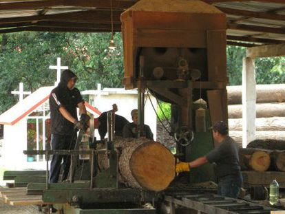 Men working in a sawmill in Agua Bendita.