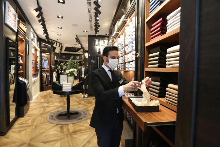 A men's fashion store opened on Monday after lockdown conditions were loosened.