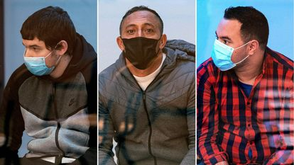 Mohamed Houli (L), Driss Oukabir (C) and Said Ben Iazza sitting in court on Tuesday,