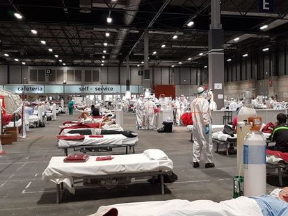 The field hospital set up at Ifema, Madrid's exhibition center.
