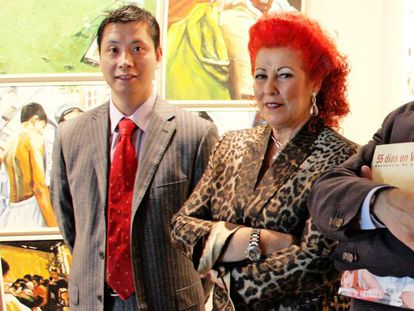 Consuelo Ciscar at the opening of an IVAM exhibition with Gao Ping in 2008.