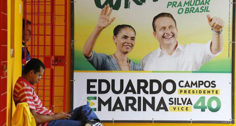 Campaign poster featuring Marina Silva and Eduardo Campos.