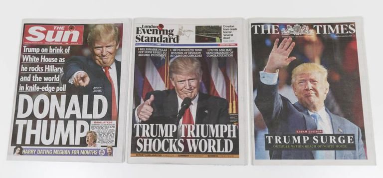 Front pages of three UK dailies after Trump's win.