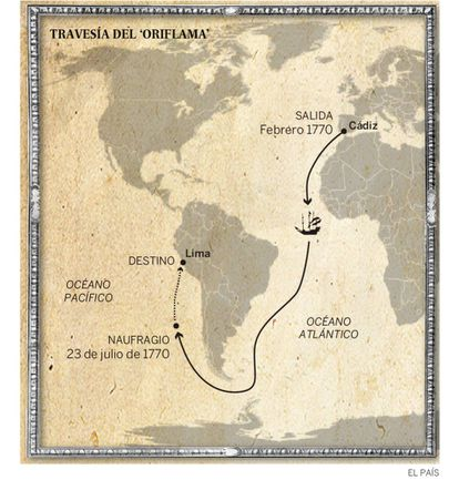 The 'Oriflama''s planned journey.