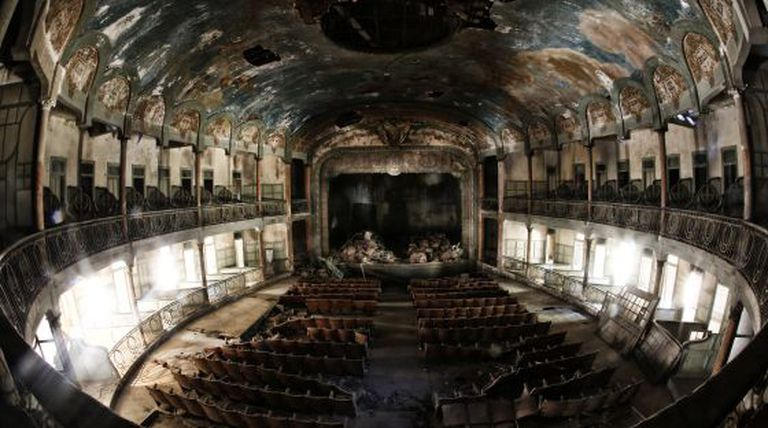 The ruins of the interior of the theater.