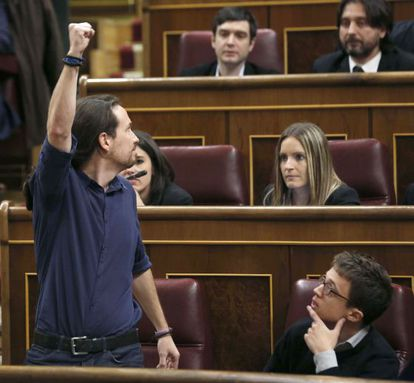 Pablo Iglesias at the constituent session of Congress on Wednesday.