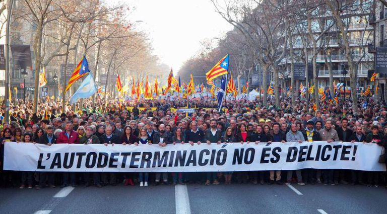 Catalan premier Quim Torra and other pro-independence leaders led the march against trial of separatists leaders in Barcelona.