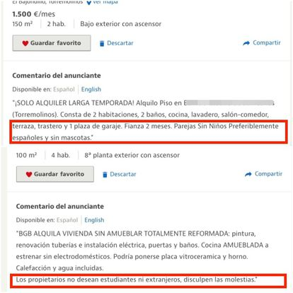 """Ads published on Idealista. The first comment circled in red reads: """"Preferably Spanish"""" and the second: """"The owners do not want students or foreigners."""""""