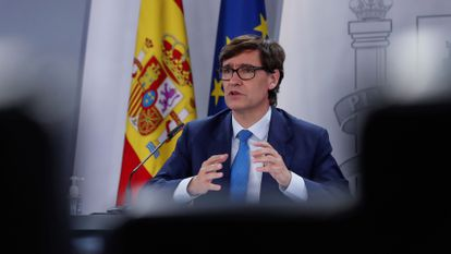 Spanish Health Minister Salvador Illa at a news conference on Thursday.