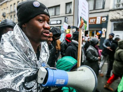 Undocumented migrants protest migration laws in Brussels on January 4.