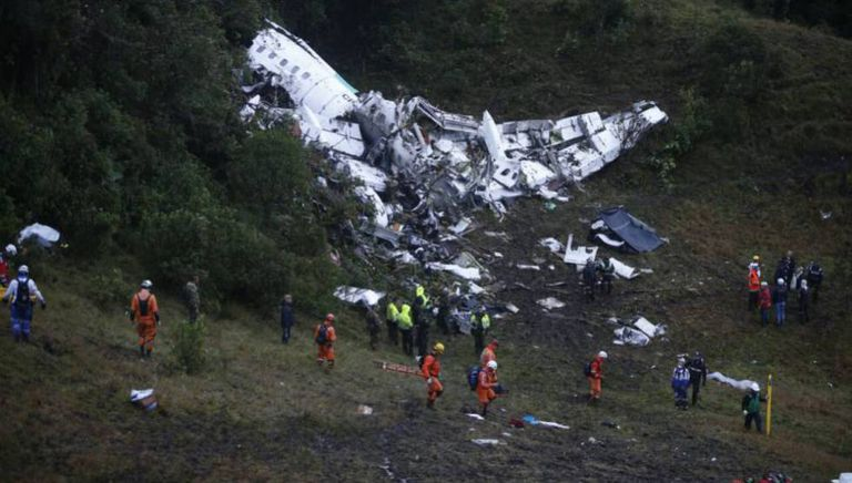 The wreckage of the plane which crashed en route to Medellín in Colombia.