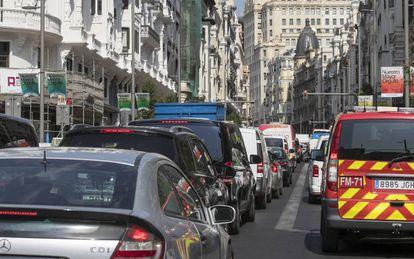 A traffic jam on Madrid's Gran Vía.