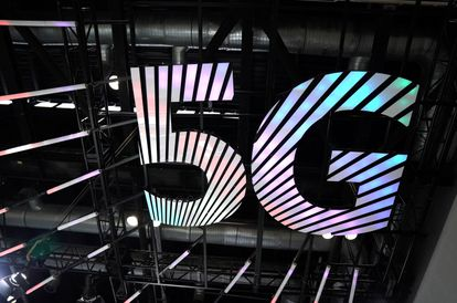 A 5G logo at the 2020 China International Fair for Trade in Services in Beijing.