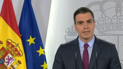 Spanish Prime Minister Pedro Sanchez during today's press conference.