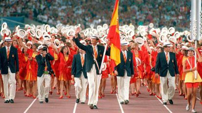 Then prince, now King Felipe (c), leads the Spanish Olympic team, in an image from state broadcaster TVE.