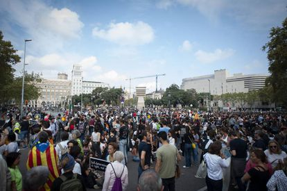 Protesters in Catalunya square on Monday.