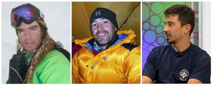 The three missing mountaineers (from l to r): Xevi Gomez, Abel Alonso and Álvaro Paredes.