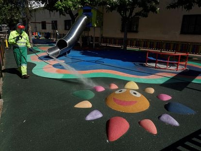 A play park is disinfected in the Spanish province of Ávila.