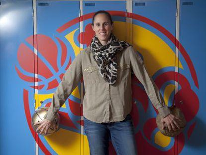 Amaya Valdemoro at the FEB basketball federation HQ earlier this year.