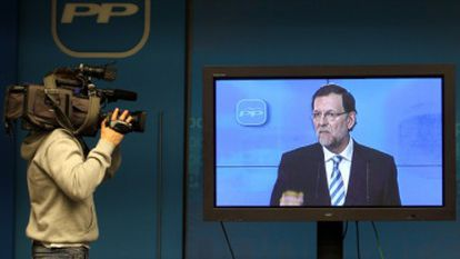 Rajoy has been criticized in the past for giving press conferences, such as this one, via videolink.