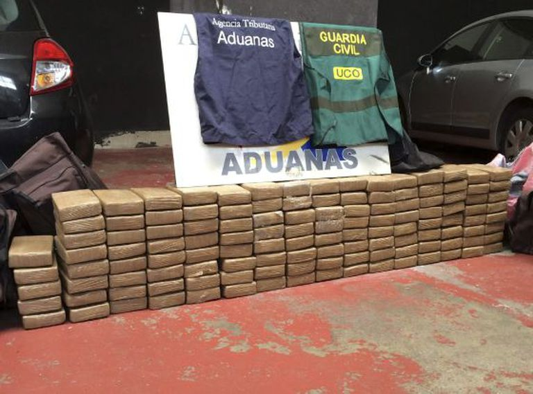A shipment of 125 kilograms of cocaine seized at the port of Vigo on August 18.
