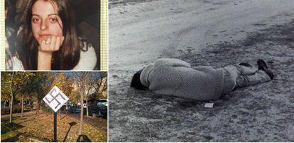 Above left, a portrait of Yolanda González. Right, Yolanda's body. Below left, the plaque in memory of Yolanda vandalized with a swastika.