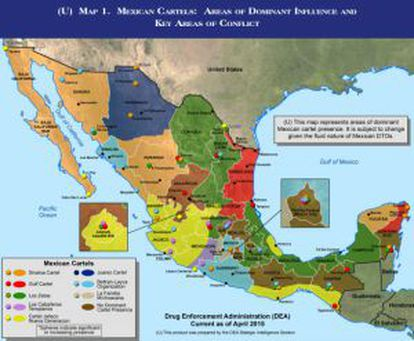 A DEA map of where the Mexican cartels are located.