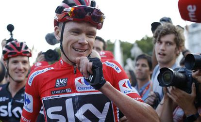 Chris Froome on his arrival in Madrid.