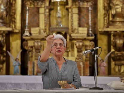Africa de la Cruz delivers mass in the church of Cilleruelos de San Mamés, Segovia.
