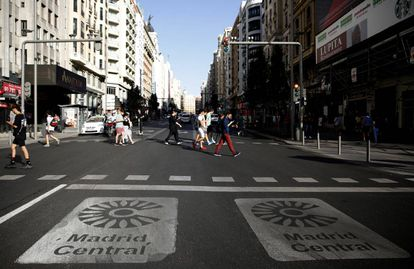 Pedestrians in Madrid's Gran Vía.