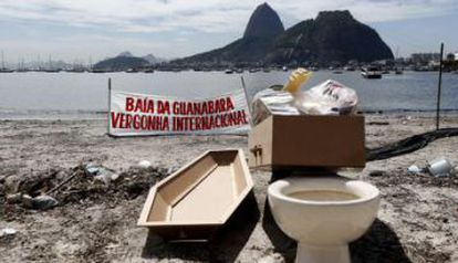 A protest against the pollution in Guanabara Bay.
