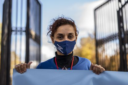 Sonia Vescovaccia, a former police officer, at the protest on Saturday.