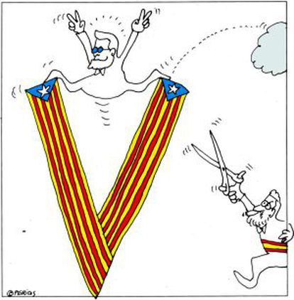 """Mariano Rajoy chases Artur Mas as the latter rides on the """"V"""" for victory"""